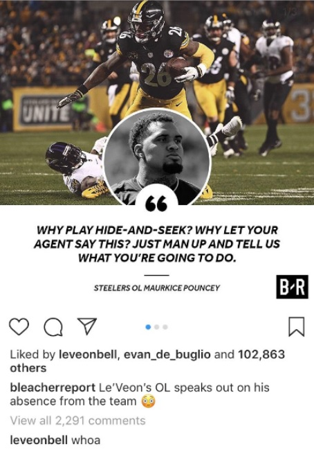 Le Veon Bell Surfaced On Instagram Responding To Maurkice